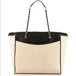 Tory Burch Black 'Rafia Fleming' Tote AUTHENTIC